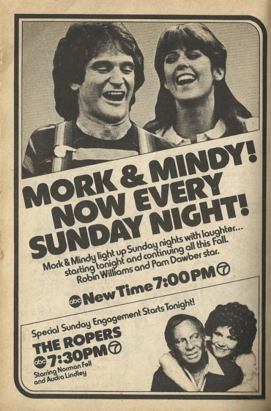 """""""Mork & Mindy! Now Every Sunday Night!"""" - August 1979 ad from TV Guide, Chicago, IL edition"""