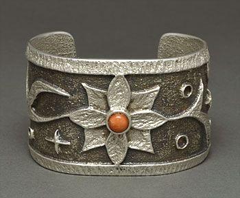 Silver & Coral Bracelet by Monty Claw (Navajo)