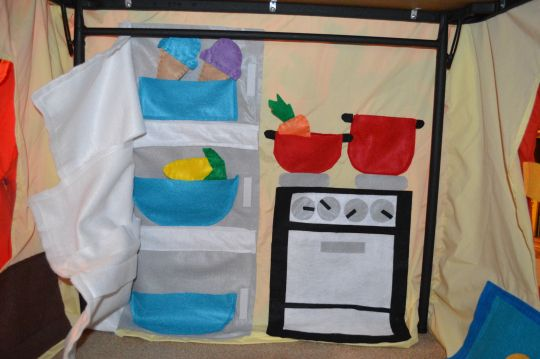 Cloth playhouse: kitchen inside wall