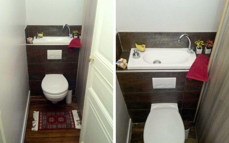 Aménagement de WC comprenant une cuvette de toilettes et un lave ...
