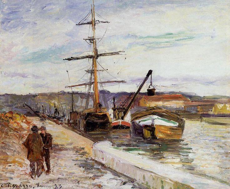 The Port of Rouen by @artpissarro #impressionism