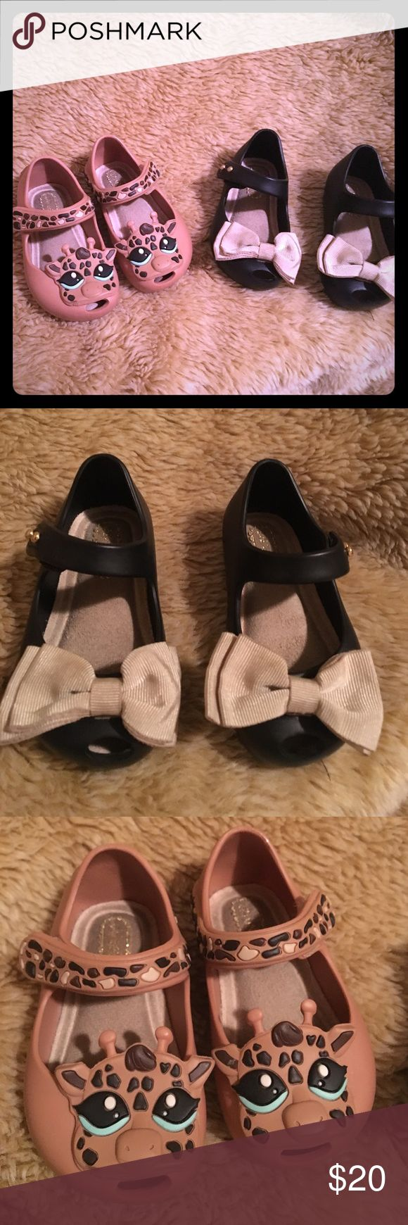 Adorable Mini Melissa shoes! Up for sale 2 pairs (or individual) of infant/baby girls mini Melissa shoes. Originally purchased for Nordstrom.  Giraffe shoes are size 5 and bow shoes are size 5 as well. Great condition. Only minor wear Mini Melissa Shoes Baby & Walker