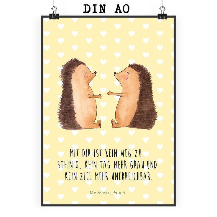 Poster DIN A0 Igel Liebe aus Papier 160 Gramm  weiß - Das Original von Mr. & Mrs. Panda.  Jedes wunderschöne Motiv auf unseren Postern aus dem Hause Mr. & Mrs. Panda wird mit viel Liebe von Mrs. Panda handgezeichnet und entworfen.  Unsere Poster werden mit sehr hochwertigen Tinten gedruckt und sind 40 Jahre UV-Lichtbeständig und auch für Kinderzimmer absolut unbedenklich. Dein Poster wird sicher verpackt per Post geliefert.    Über unser Motiv Igel Liebe  Das Gefühl verliebt zu sein und…