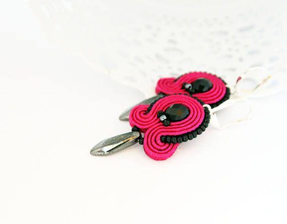 Magenta drop earrings soutache pink earrings dangle drop