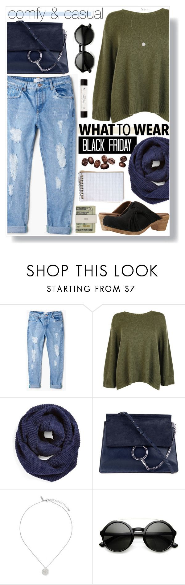 """""""Black Friday Attire"""" by cmelrose ❤ liked on Polyvore featuring MANGO, The Row, BP., Chloé, Topshop, ZeroUV, Dansko, philosophy and Jack Spade"""