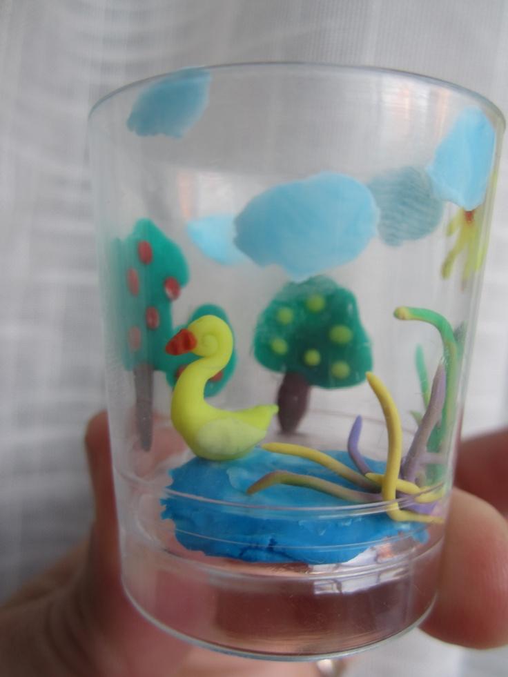vaso chupito plastina-Lago con patito