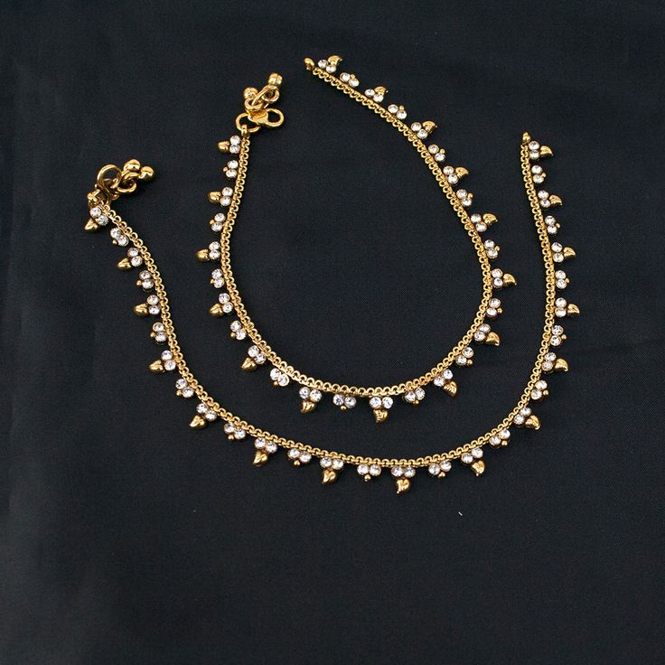 Ethnic Indian Pakistani Payal Anklet Pair with Soft Bells Bollywood Bridal Jewelry