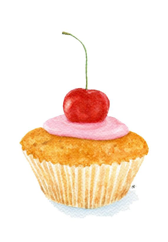 ORIGINAL Painting - Cherry Cupcake (Food Watercolors Wall Art, Still Life) A5 on Etsy, $37.64 CAD