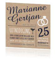 Originele uitnodiging jubileum huwelijk typografisch