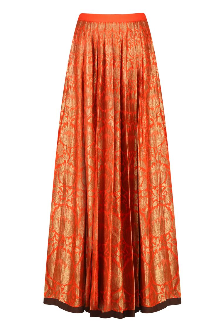 Tangerine orange and gold brocade flared kalidaar lehenga skirt available only…