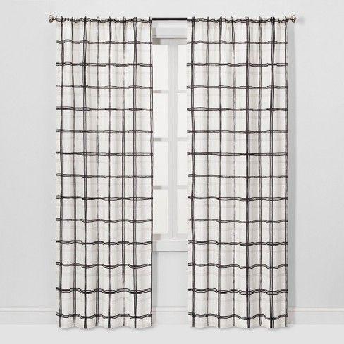Threshold 2pc 40 X84 Light Filtering Plaid Window Curtain Panels