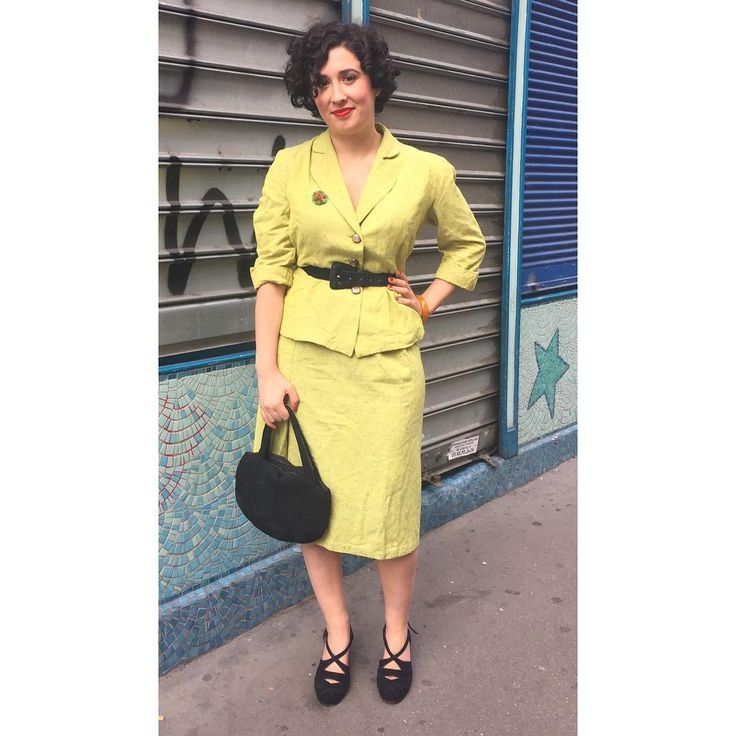 "136 Likes, 11 Comments - Alix (@frenchie_alix) on Instagram: ""Today's outfit! Wearing a late 40s chartreuse color suit, from @mamzelleswing with a ww2 era…"""