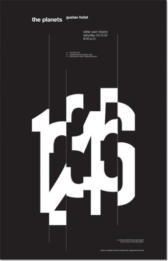 This poster has an overall symmetrical composition with some illustrative macro type as a focal point.