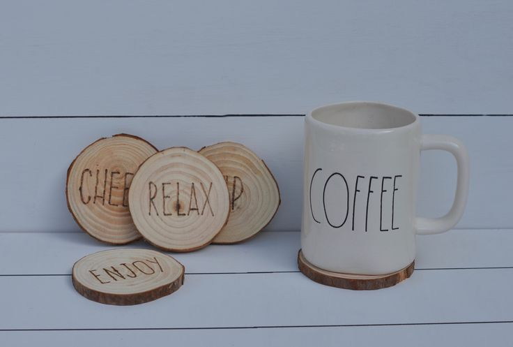 Wood Slice Coasters / Rae Dunn Inspired Coasters / Rustic Coasters / Wood Burned Coasters / Rustic Coasters / Farmhouse Coasters by SawdustAngel on Etsy https://www.etsy.com/listing/493977648/wood-slice-coasters-rae-dunn-inspired