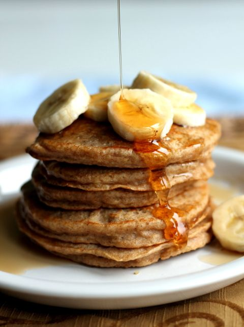 Fluffy banana pancakes made with leftover cooked quinoa, could add cocoa powder to make chocolate!