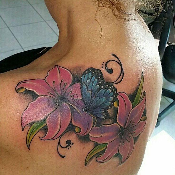 Butterfly Tattoos with Flowers on Upper Back @DdDANNYdD
