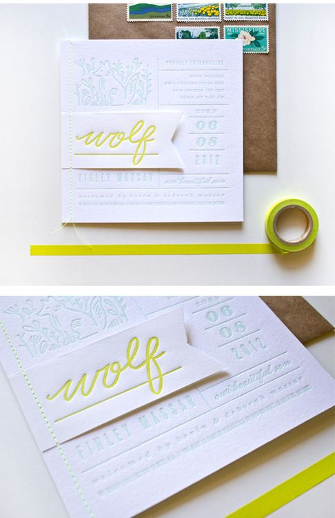 I'm happy to share a recent birth announcement I made for Wolf Finley. The Massars gave me a color palette to start with (mint and neon yellow), and I got to take it from there. We stitched little Wolf flags onto each letterpressed announcement with neon thread and paired them with kraft envelopes. So fun.