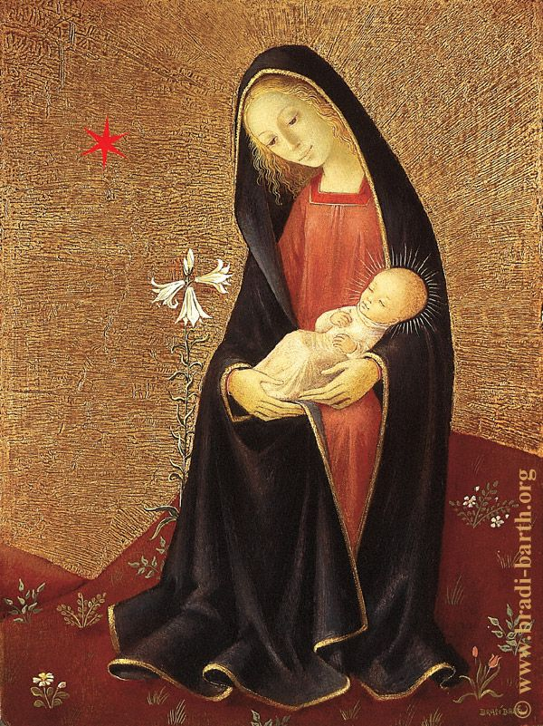 A unique, beautiful image of Mary and Baby Jesus. See the bunch of lilies in the picture? This was painted by a Belgian artist.