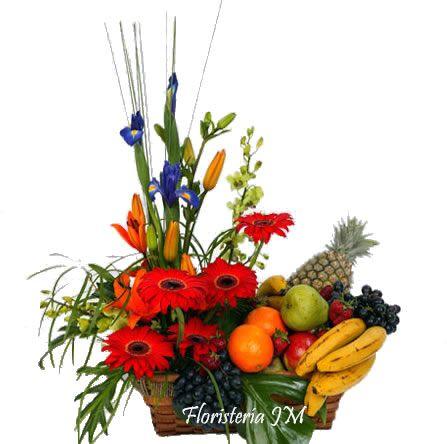 Flores Y Frutas Tropicales Brillantes Gerberas Con