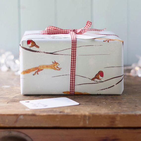 Woodland inverno Natale Wrapping foglio di carta con o senza un tag corrispondente, involucro di Natale, regalo di Natale nevoso avvolgere da Moobaacluck
