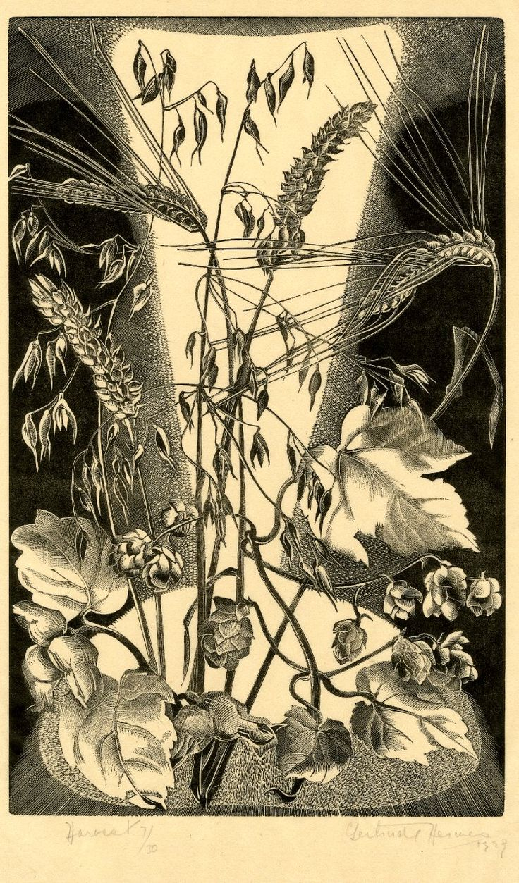 Gertrude Hermes ~ Harvest, 1929 (wood engraving)