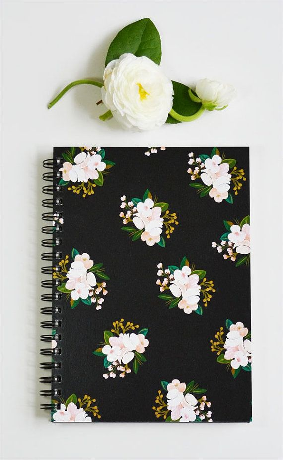First Snow Notebook/Journal Black cover with Blush Floral I really want this for a journal!