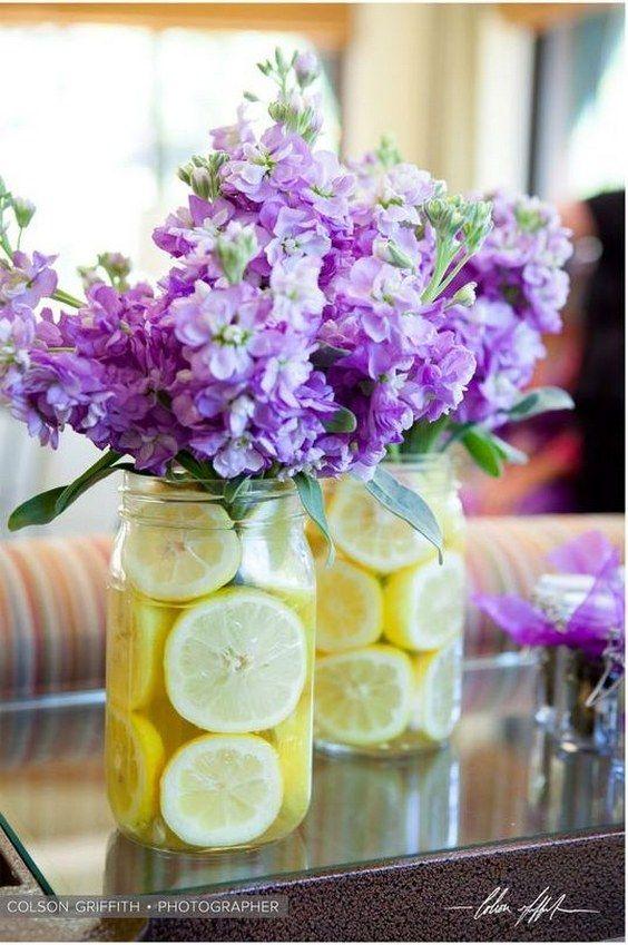 lilac and yellow wedding centerpiece / http://www.deerpearlflowers.com/fruit-wedding-ideas/