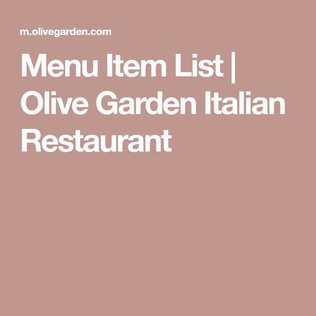 Menu Item List | Olive Garden Italian Restaurant