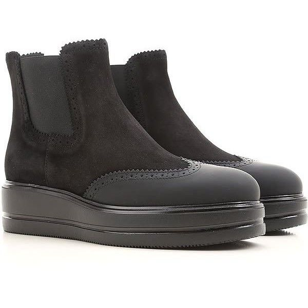 Hogan h323 Suede Chelsea Boots ($275) ❤ liked on Polyvore featuring shoes, boots, black, chelsea bootie, chelsea boots, black shoes, leather cap toe boots and black chelsea boots