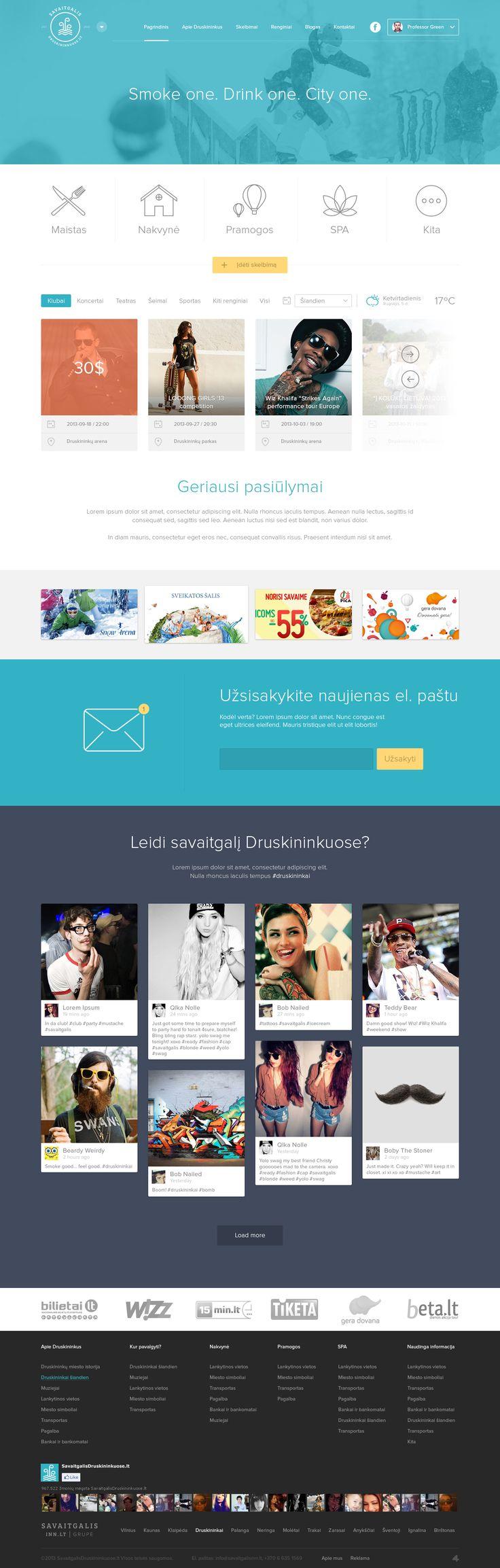Use cards like we do on the web concept Savaitgalis Druskininkuose landing page