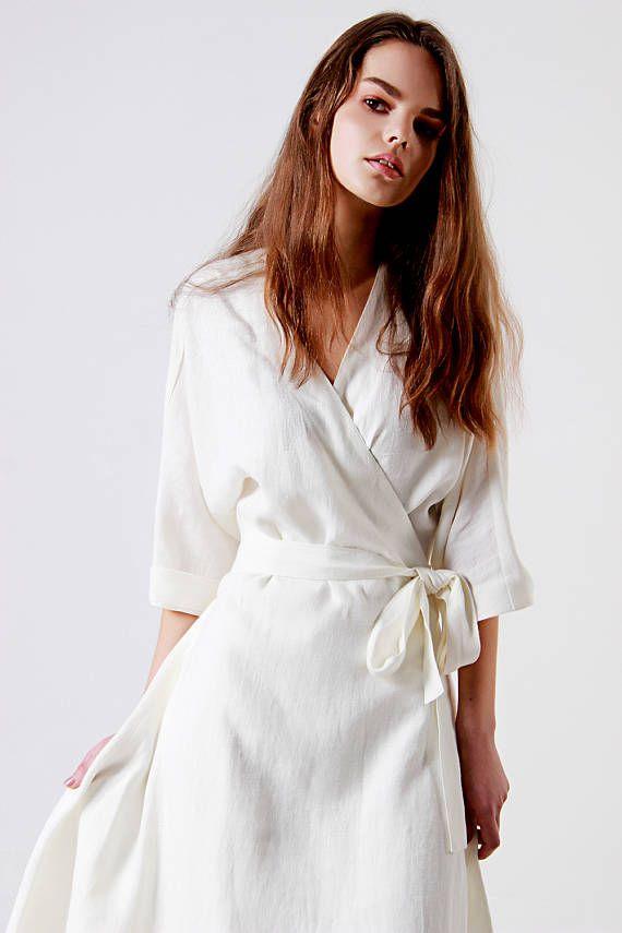 Soft Linen Dress Wrap Dress Linen Dress Summer Dress White