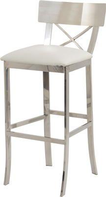 Hampton Steel White Bar Stool With Backrest