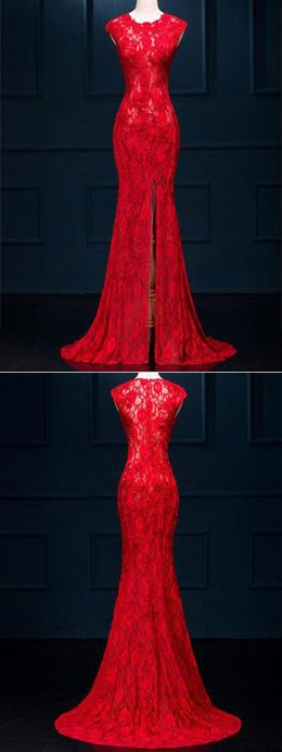 Red Prom Dresses Long,Gowns Prom,Prom Dresses on line, Cheap Evening Dresses for Teens,Party Dresses for Woman,Long See Through Split Mermaid Sexy Red Lace Prom Dresses Evening Dress SVD310