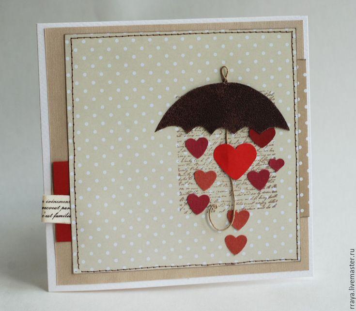 Купить Открытка с зонтиком - бежевый, зонт с сердечками, День Святого Валентина, День всех влюбленных