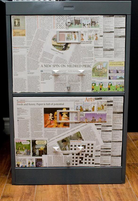 DIY: Filing Cabinet Makeover. Maybe use vintage paper? Or paper we ...