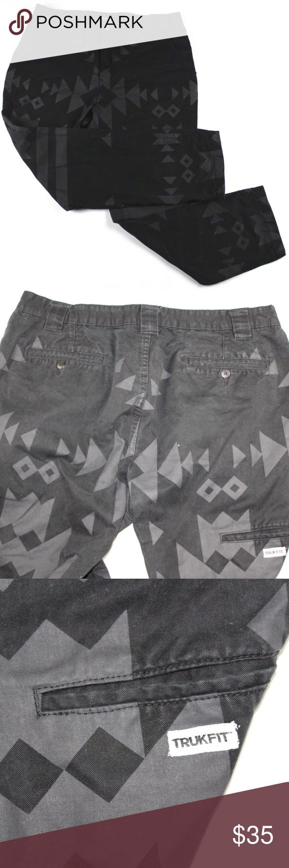 Trukfit Size 40x31 Tribal Print Geometric Pants Trukfit Tribal Geometric Print Pants  Excellent jeans  Comes from a smoke-free household  Black Tribal Print  The size is 40x31  Cotton  Check out my other items for sale in my store!  H88 Trukfit Pants Chinos & Khakis