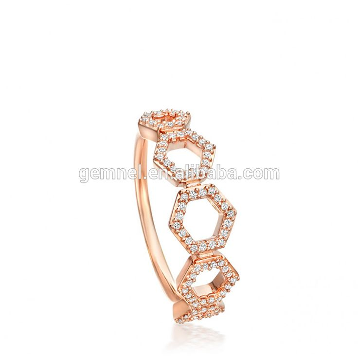 Gemnel newest luxury honeycomb bamoer jewelry ring for women