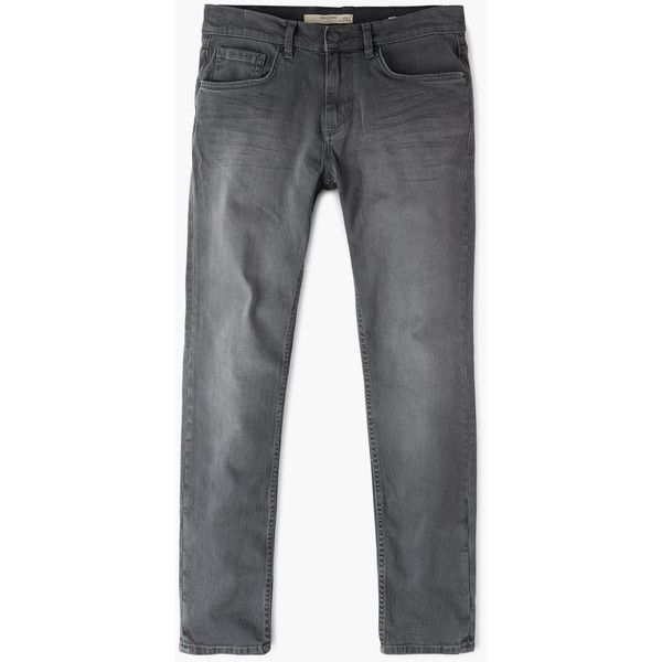 MANGO MAN Skinny grey Jude jeans (1.500 RUB) ❤ liked on Polyvore featuring men's fashion, men's clothing, men's jeans, open grey, mens gray jeans, mens zipper jeans, mens grey skinny jeans, mens grey jeans and mens skinny jeans
