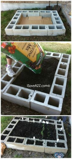Raised Garden Bed Design made  out of cinder blocks!  Cinder Block Garden iSaveA2Z.com