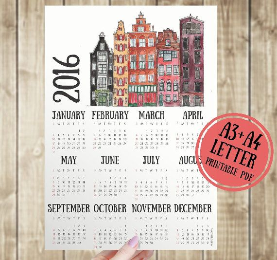 """Calendar 2016 printable, Amsterdam houses, 2016 Printable calendar. A3 printable wall calendar. Architectural office wall calendar. Watercolor print wall art.  ❤ INSTANT DOWNLOAD ❤ INCLUDE LETTER size (8,5""""x11"""") & A3 size (11,7""""x16,5"""") & A4 size (8,3""""x11,7"""")  You can print this as many times as you'd like!  DIGITAL DOWNLOAD ONLY NO PHYSICAL PRINTS INCLUDED  Decorate your home with this beautiful wall calendar! You just have to buy and print the art and you'll get an wonderful and quickly…"""