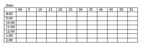 5 minute partial and whole interval recording data sheet