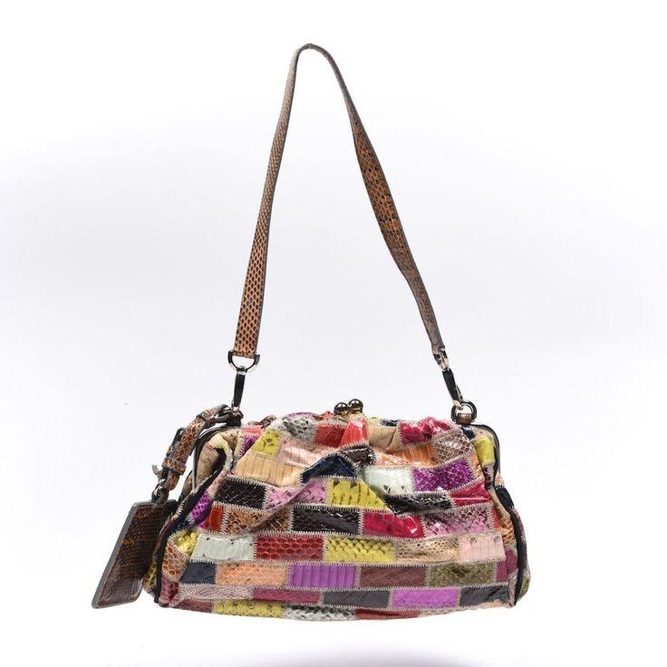 DOLCE & GABBANA Clutch / Shoulder Bag Multi-Coloured Patchwork Snakeskin…