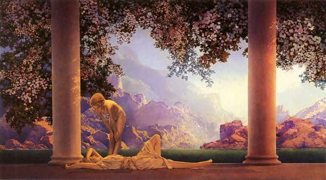 'Daybreak' by 1920s American artist, Maxfield Parrish. I have always loved the way in which Parrish used light. Very dramatic. Usually early morning or late, late afternoon sunlight.. .