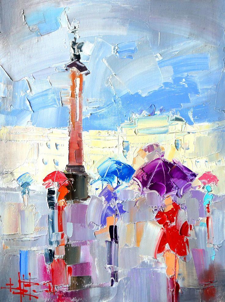 Saint Petersburg by Konstantin Art_На дворцовой в дождь. холст/масло. 2015