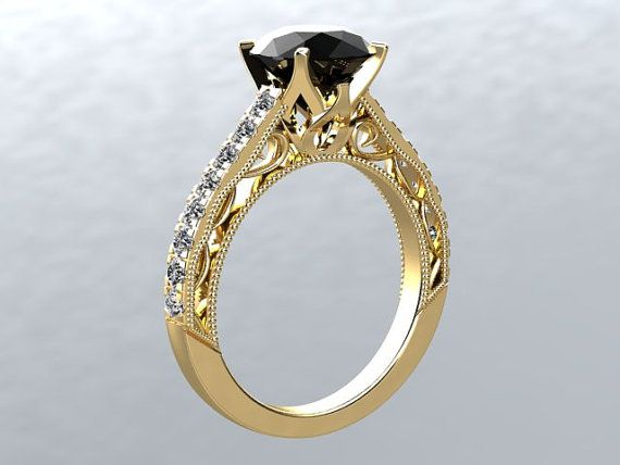14kt yellow gold 8mm black moissanite fsi1