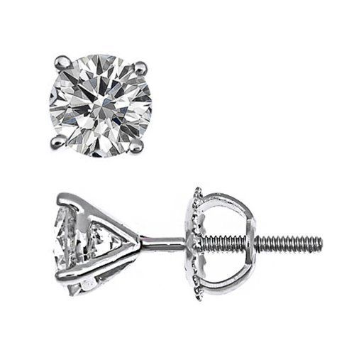 14K White Gold Round Cut Diamond Stud Earring 0.75Ct Total Weights $2,200.00