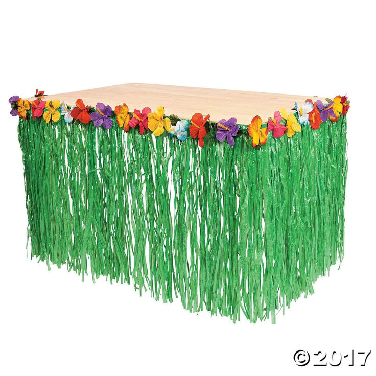 Finish off your beach party decorations with this Hibiscus Green Table Skirt. Dress up your table with Hawaiian flowers! This green artificial grass table ...