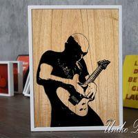 Hiasan Dinding Poster Joe Satriani Bahan Kayu, Ukuran : 30 x 19 x 2,5 Cm #hiasandinding #posters #joesatriani