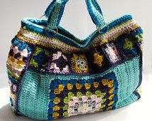 Crochet purse granny square weekend bag