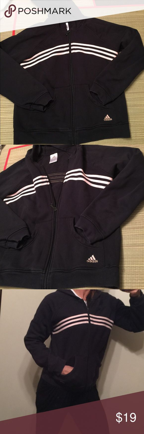 Vtg Adidas hoodie pink & black youth L women's S Vintage 90s adidas hoodie. RAre colors. Black with 3 light pink stripes. Youth size large fits women's size small-med listed as women's small. Normal fading otherwise great condition no stains or holes. Perfect vintage adidas hoodie for fall 2017 🔥price firm ships next day 🔥.     Tags m: vintage windbreaker adidas yeezy air max Nike retro hoodie Puma Fila champion shirt adidas Tops Sweatshirts & Hoodies